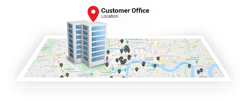 With a self-booking platform check the hotel's location and office location on the map